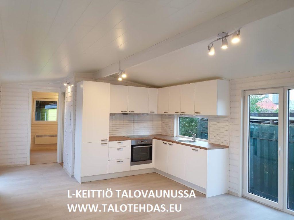 Talovaunu 12x4,3 keittiö, Talovaunu Virosta, talotehdas.eu, ratastelkodu.ee, talopaketti